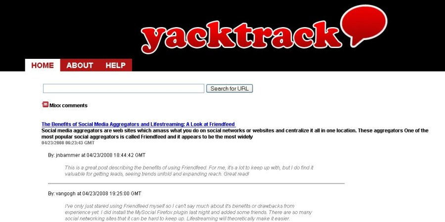 YackTrack search example