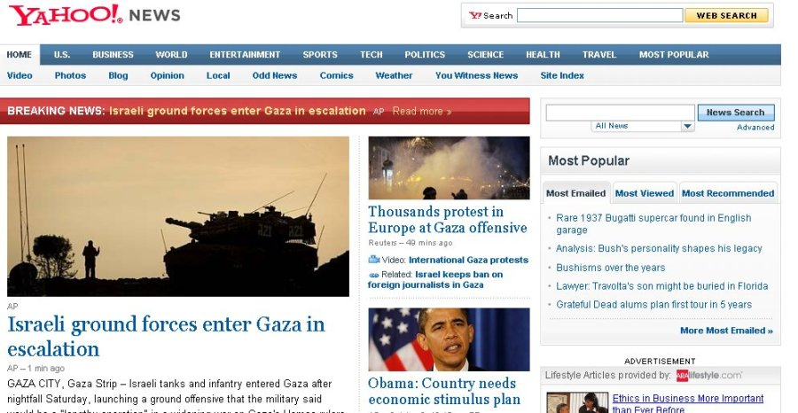 Yahoo News front page