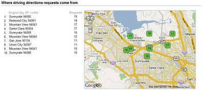 Map of user zip codes requesting driving directions